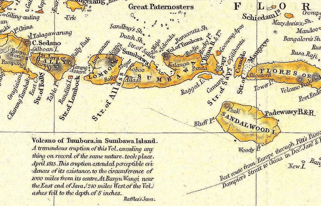 Sumbawa Histrocal Map with Mount Tambora