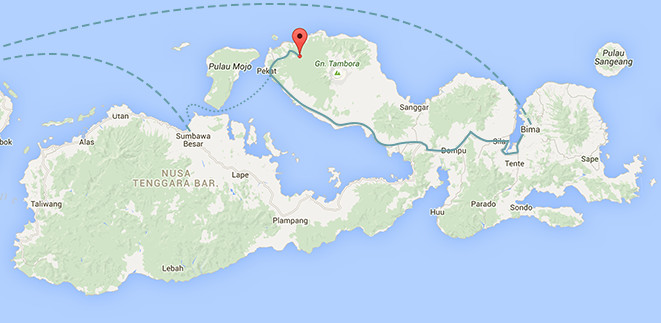 Sumbawa Mount Tambora getting there Map